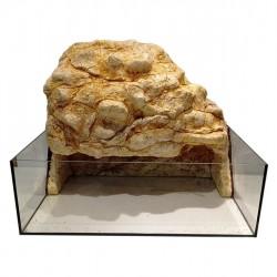 Görög teknős terrárium műszikla háttérrel, háttérbe épített világítással - L méret